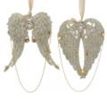 Set of 2 Vintage Glamour Platinum Glittered Angel Wing Ornaments