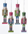 Set of 4 Preppy Bright Color Nutcracker Ornaments With Pearls by Kurt Adler