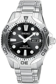 Seiko Core Solar SNE107 Stainless Steel Black Dial Diver's Men's Watch