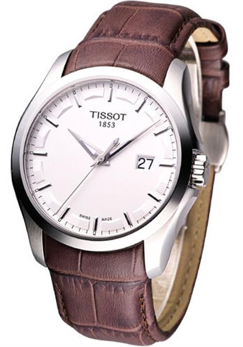 tissot t0354101603100 t trend couturier silver dial mens brown tissot t0354101603100 couturier men s watch retail 375 usd