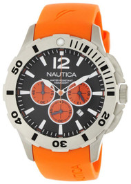 Nautica BDF 101 N16567G Men's Orange Resin Chronograph Watch