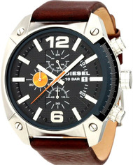 Diesel Advanced Chronograph Black Dial Date Leather Men's Watch DZ4204