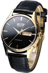 Tissot Visodate Automatic Gold PVD Men's Leather Watch T0194303605101