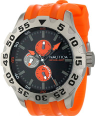 Nautica BDF 100 N15565G Men's Orange Rubber Sports Watch