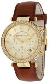 Michael Kors Parker Crystals Chronograph Women's Leather Watch MK2249