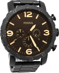 Fossil Nate Brown Dial Chronograph Black Steel Men's Watch JR1356