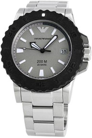 Emporio Armani AR5970 Sportivo Men's Black Silicone Bezel Dive Watch