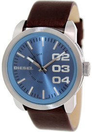 Diesel Analog Blue Dial Leather Stainless Steel 46mm Mens Watch DZ1512