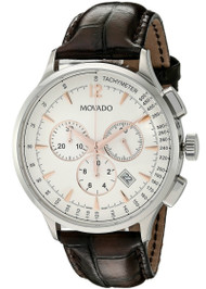 Movado Circa Chronograph White Dial Brown Leather Men's Watch 0606576
