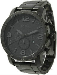 Fossil JR1401 Nate Men's Chronograph Black Steel Watch