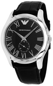 Emporio Armani AR1703 Classic Black Leather Small Seconds Dress Watch