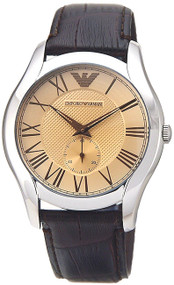 Emporio Armani AR1704 Classic Champagne Dial Men's Brown Leather Watch
