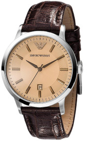 Emporio Armani AR2427 Classic Men's Brown Leather Dress Watch
