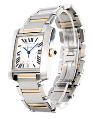 Cartier Tank Francaise LG 18k YG and Steel Auto Men's Watch W51005Q4