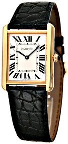 Cartier W5200004 Tank Solo Large 18k Gold Black Leather Watch