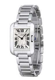 Cartier Tank Anglaise Small Silvered Flinqué dial Women Watch W5310022