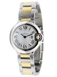 Cartier Ballon Bleu Silver Dial Women 18KY Gold & Steel Watch W69007Z3