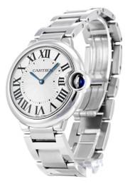 Cartier Ballon Bleu Midsize 36MM Silver Dial Unisex SS Watch W69011Z4