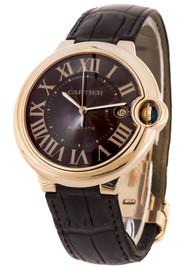 Cartier Ballon Bleu 18k Rosegold Case Brown Leather Men Watch W6920037