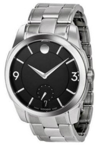 Movado LX 0606626 42mm Black Dial Stainless Steel Men's Watch