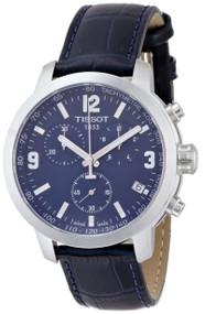 Tissot PRC 200 Blue Chronograph Leather Men's Watch T0554171604700