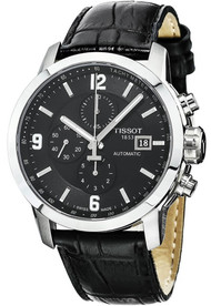 Tissot PRC 200 Chronograph Black Dial Leather Men  Watch T0554271605700