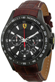 Ferrari Scuderia 830045 Chronograph Black Dial Men's Leather Watch