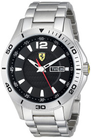 Ferrari Scuderia 830094 Day Date Black Dial Men's Steel Watch