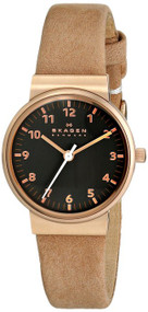 Skagen Ancher Gray Dial 3 Hands Tan Leather Women's Watch SKW2189
