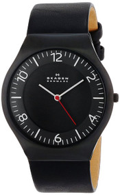 Skagen Grenen 3 Hands Quartz Black Leather Strap Men's Watch SKW6113
