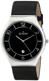 Skagen Grenen Quartz 3 Hands Black Leather Strap Men's Watch SKW6115