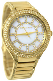 Michael Kors MK3312 Kerry MOP Dial Women Gold Toned Crystals Watch