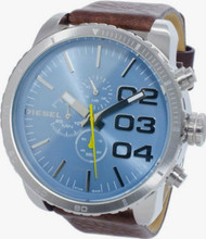 Diesel Double Down Chronograph Blue Dial BRN Leather Men Watch DZ4330