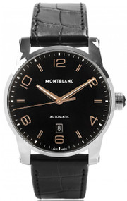 Montblanc TimeWalker BLK Dial Leather Band Automatic Men Watch 110337
