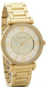 Michael Kors MK3332 Catlin Pearl Crystalize Dial Gold SS Women's Watch