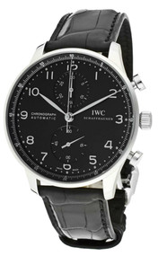 IWC Portuguese Automatic Chronograph Black Leather Men Watch IW371447