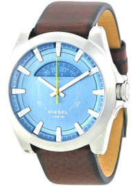 Diesel Arges Blue Dial Leather Date Stainless Steel Men's Watch DZ1661