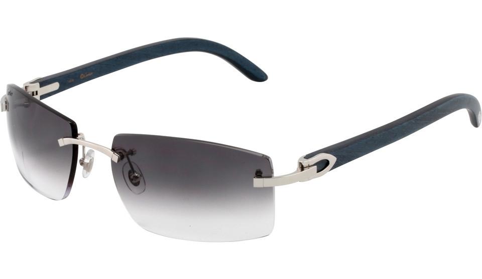cartier t8300816 c dÉcor gray lense blue temple men rimless sunglasses