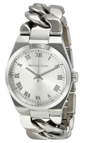 Michael Kors MK3392 Channing Silver Dial Women Twisted Chain SS Watch