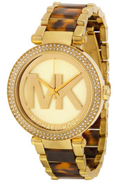 Michael Kors MK6109 Parker Glitz MK Logo Tortoise Acetate Women Watch