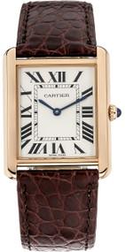 Cartier Tank Solo Silver Dial Brown Leather Women's Watch W5200025
