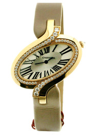 Cartier Delices Oval Diamonds Satin Leather Band Women Watch WG800017