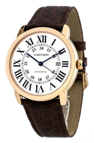 Cartier Ronde Solo XL 18KT Rose Gold Brown Leather Men Watch W6701009