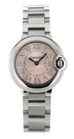 Cartier W6920038 Ballon Bleu Pink Dial 28MM Quartz Women's Steel Watch