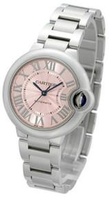 Cartier W6920100 Ballon Bleu Pink Dial 33MM Automatic Women's SS Watch