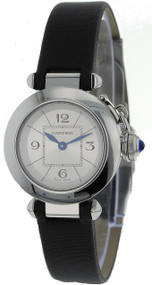 Cartier Miss Pasha Silver Dial 27MM Black Leather Women Watch W3140025