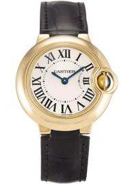 Cartier Ballon Bleu Silver Dial 18KY Leather Band Women Watch W6900156