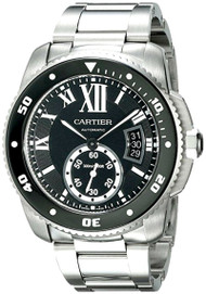 Cartier Calibre Black Dial Automatic Diver Steel Men's Watch W7100057