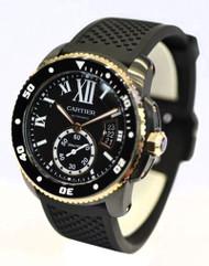 Cartier Calibre Carbon Diver Mechanical BLK Rubber Men Watch W2CA0004