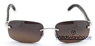Cartier Buffalo Horn Temples Rimless Men's Sunglasses T8307002